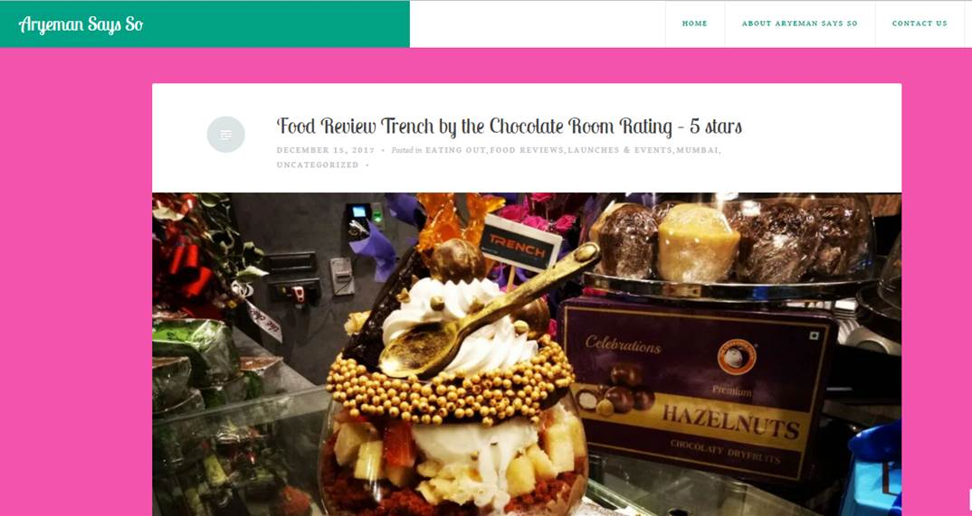 Food Review Trench by the Chocolate Room Rating – 5 stars